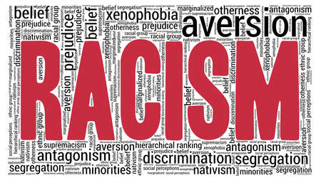 Racism word cloud isolated on a white background.