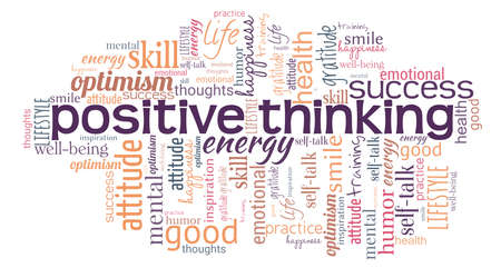Positive thinking word cloud isolated on a white background.