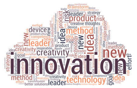 Innovation word cloud isolated on a white background.