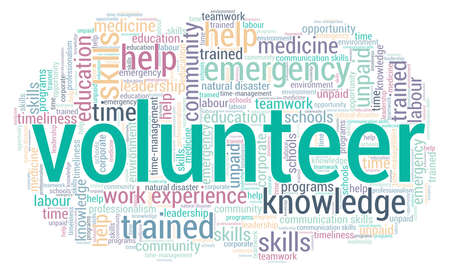 Volunteer word cloud isolated on a white background.