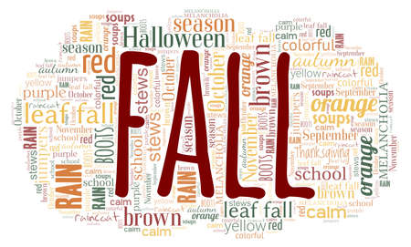 Fall word cloud isolated on a white background.