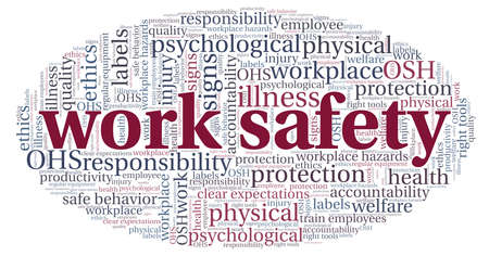 Work safety word cloud isolated on a white background.