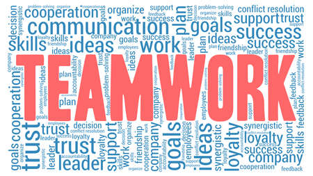 Teamwork word cloud isolated on a white background.