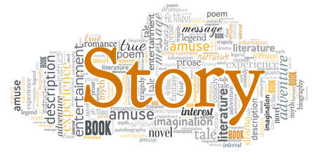 Story word cloud isolated on a white background.