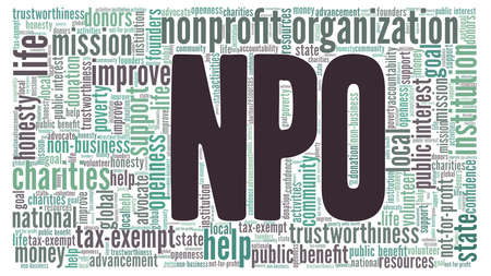 Nonprofit organization word cloud isolated on a white background.