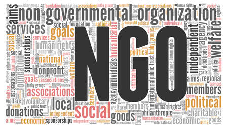Non-governmental organization word cloud isolated on white background. 矢量图像