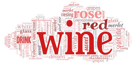 Wine word cloud isolated on a white background.