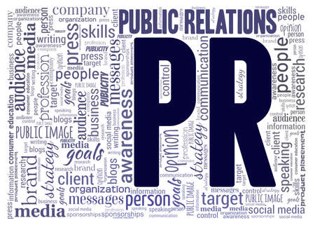 Public relations - PR word cloud isolated on a white background.
