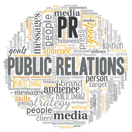 PR - Public relations word cloud isolated on a white background.