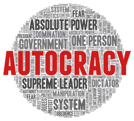 Autocracy word cloud isolated on a white background.