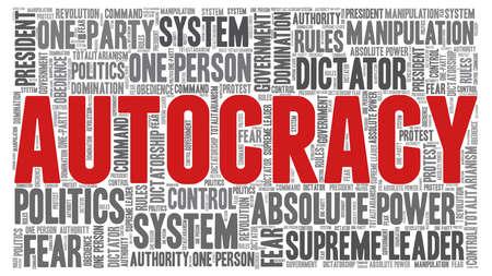 Autocracy word cloud isolated on a white background. Ilustração Vetorial