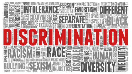 Discrimination word cloud isolated on a white background.