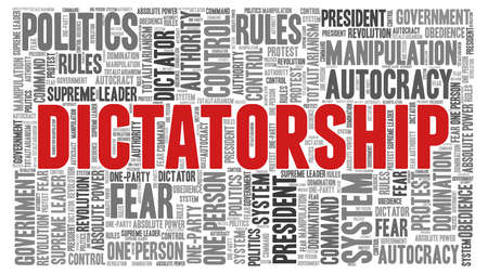 Dictatorship word cloud isolated on a white background. Illustration