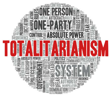 Totalitarianism word cloud isolated on a white background.