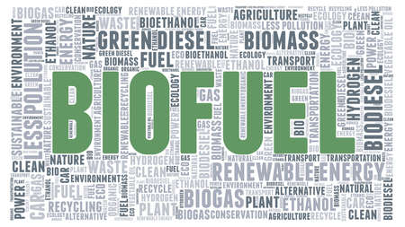 Biofuel sustainability concept word cloud isolated on a white background. Vector Illustration