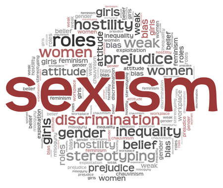 Sexism discrimination word cloud isolated on a white background. Vettoriali