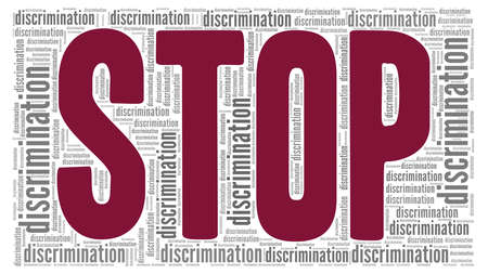 Stop discrimination vector illustration word cloud isolated on a white background.