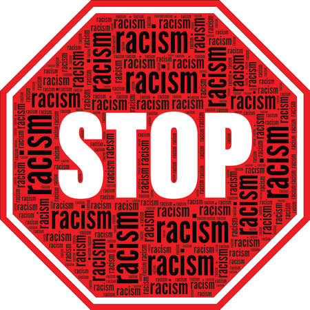 Stop racism traffic sign vector illustration word cloud isolated on a white background.