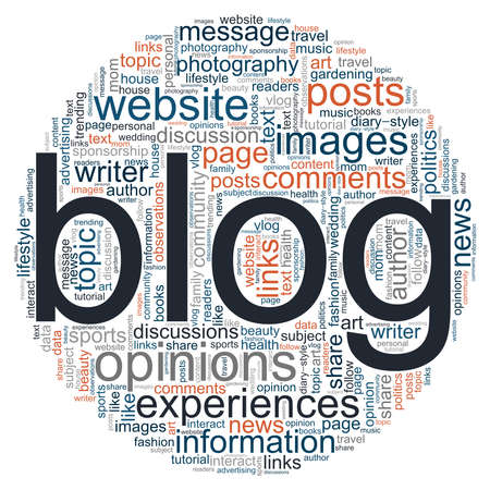 Blog vector illustration word cloud isolated on a white background.