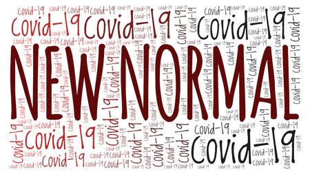 New normal after Covid-19 coronavirus vector illustration word cloud isolated on a white background. Vektoros illusztráció
