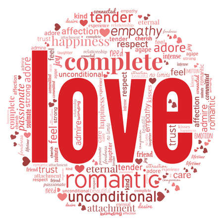 Love illustration word cloud isolated on a white background.