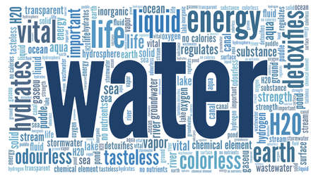 Water illustration word cloud isolated on a white background.