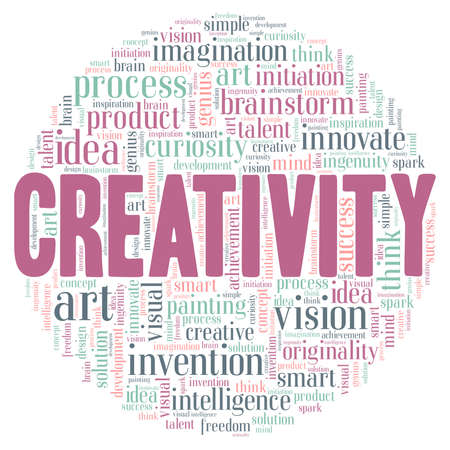 Creativity illustration word cloud isolated on a white background.