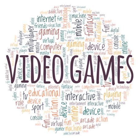 Video games vector illustration word cloud isolated on a white background.
