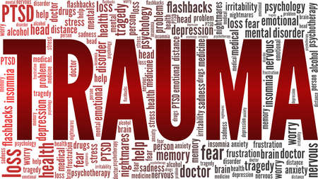 Trauma vector illustration word cloud isolated on a white background.