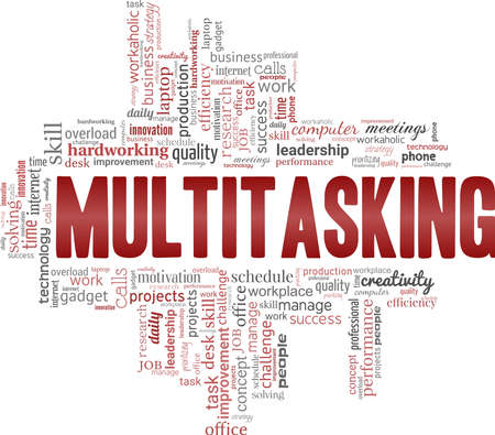 Multitasking vector illustration word cloud isolated on a white background.