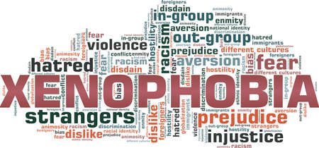 Xenophobia vector illustration word cloud isolated on a white background.