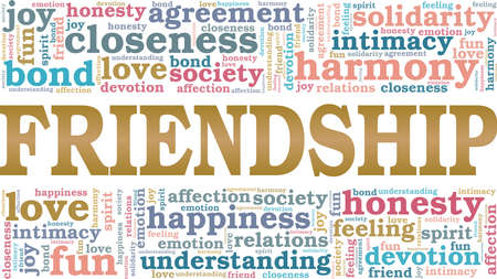 Friendship vector illustration word cloud isolated on a white background.