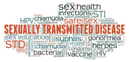 Sexually transmitted disease - STD vector illustration word cloud isolated on a white background.