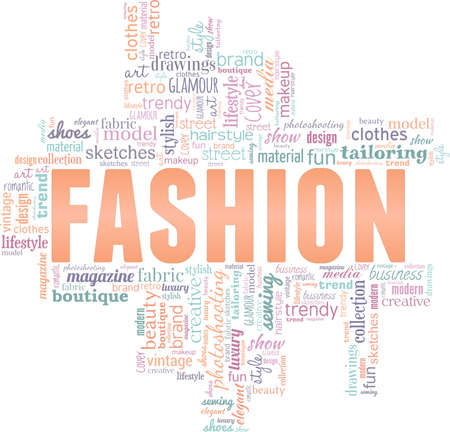 Fashion vector illustration word cloud isolated on a white background.