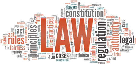 Law vector illustration word cloud isolated on a white background. Vektorové ilustrace