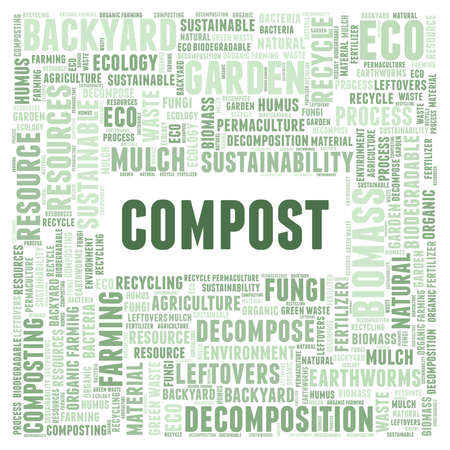Compost vector illustration word cloud isolated on a white background.