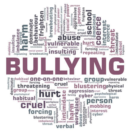 Bullying vector illustration word cloud isolated on a white background.