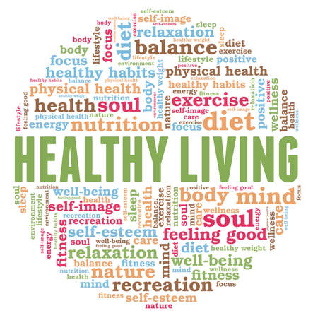 Healthy living vector illustration word cloud isolated on a white background.