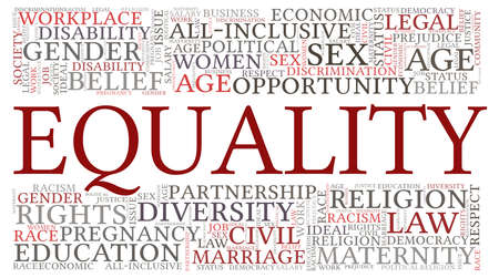 Equality vector illustration word cloud isolated on a white background. Vecteurs