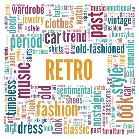 Retro vector illustration word cloud isolated on a white background.