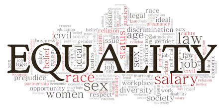 Equality vector illustration word cloud isolated on a white background. Illustration
