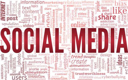 Social media vector illustration word cloud isolated on a white background.