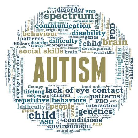 Autism vector illustration word cloud isolated on a white background. Illustration