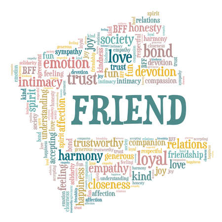 Friend vector illustration word cloud isolated on a white background.