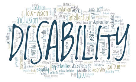 Disability vector illustration word cloud isolated on a white background.