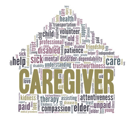 Caregiver vector illustration word cloud isolated on a white background.