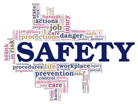 Safety vector illustration word cloud isolated on a white background.