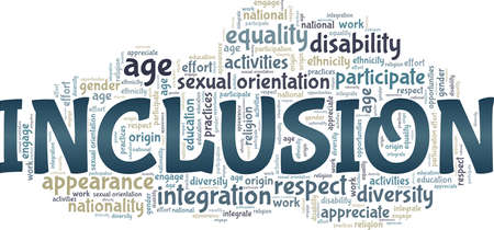 Inclusion vector illustration word cloud isolated on a white background. Vetores