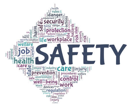 Safety vector illustration word cloud isolated on a white background. Stock fotó - 154701977