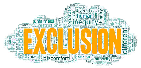 Exclusion vector illustration word cloud isolated on a white background.